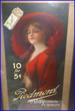 Vintage Piedmont Cigarettes Advertising Poster Sign Tobacco Original