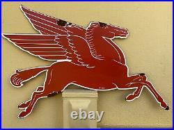 Vintage Porcelain 1953 Mobil Oil Pegasus Horse Sign Metal USA Lube Gas Station