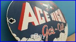 Vintage Porcelain Ace High Gas Oil Service Station Aviation Northwest Pump Sign