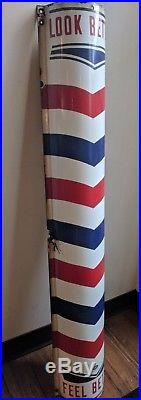 Vintage Porcelain Barber Shop Pole 48 Curved Sign Look Better Feel Better Hair