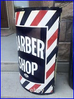 Vintage Porcelain Barber Shop Sign Great Condition Marvy USA