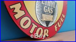 Vintage Porcelain Bearcat Motor Oil Gasoline Service Station Pump Plate Sign