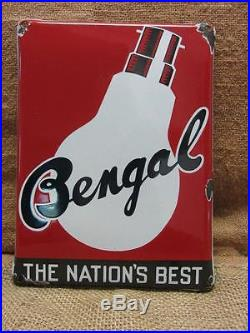Vintage Porcelain Bengal Sign Beautiful Color Antique Old Store Signs 7248