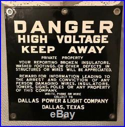 Vintage Porcelain Danger High Voltage Sign (1)