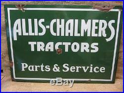 Vintage Porcelain Double Sided Allis Chalmers Tractors Dealer Sign Antique 8496