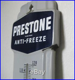 Vintage Porcelain Enamel Prestone Antifreeze Advertising Thermometer Sign 1940's