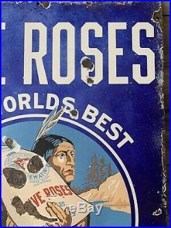 Vintage Porcelain Five Roses Flour Sign