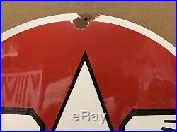Vintage Porcelain Flying A Sign Service Station Gas Oil Pump Can Garage Decor