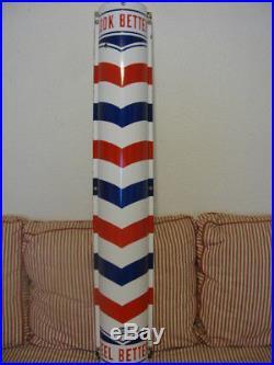 Vintage Porcelain Marvy Barber Shop Pole Curved Sign 48 x 8 NO RESERVE
