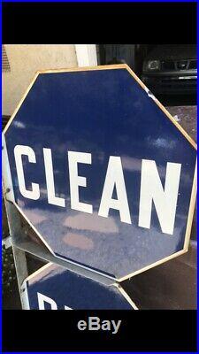 Vintage Porcelain Mobil Gas Station Sign CLEAN REST ROOMS With Original Bracket