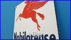 Vintage Porcelain Mobil Grease Service Station Gasoline Pegasus Pump Plate Sign