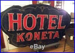 Vintage Porcelain Neon KONETA HOTEL Sign Wapakoneta Ohio