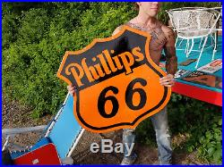 Vintage Porcelain Phillips 66 Gasoline Metal 30 inch Shield Dircut Sign Gas Oil