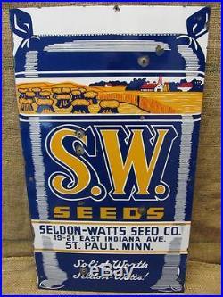 Vintage Porcelain Seldon Watts Seed Co Sign Antique Superb Color Old RARE 8002