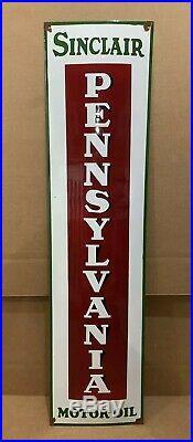 Vintage Porcelain Sinclair Pennsylvania Sign Gasoline Motor Oil Pump Dino Gas
