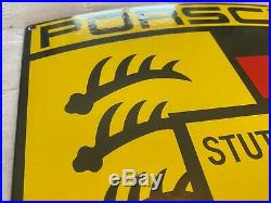 Vintage Porsche Porcelain Sign, Dealership, Gas, Oil, Stuttgart Germany, Rare