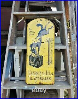 Vintage Prest-O-Lite Batteries Thermometer 20 3/4 x 8 7/8