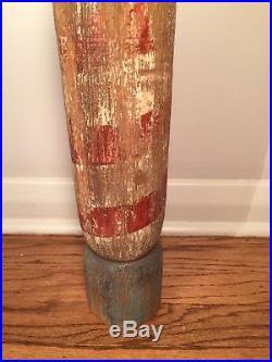Vintage Primitive Folk Art Wood Barber Pole