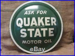 Vintage Quaker State Motor Oil Domed Sign 24 Antique Gas Station 9764