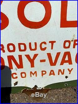 Vintage RARE LG Porcelain Mobil Socony Oil General Gas Gasoline Sign 48X48