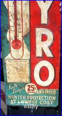 Vintage RARE Pyro Antifreeze Sign With Snowman Graphic Gas Gasoline Oil 39x13 WOW