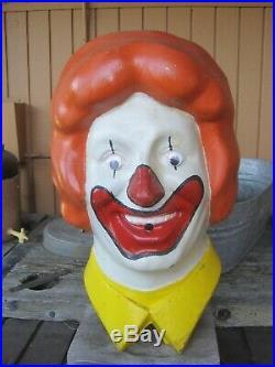 Vintage Rare 1977 Ronald McDonald's Large Head Helium Balloon Inflator Cover