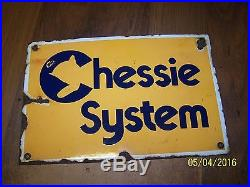 Vintage Rare'70s Chessie System Railroad CBCSX Porcelain Advertising Sign