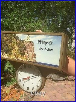Vintage Rare Fitgers Beer Metal Motion Light Sign With Lighthouse clock Duluth MN