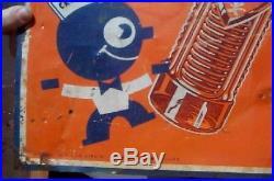 Vintage Rare Orange Crush Soda Pop Metal Sign With Large Crushy & Bottle Graphics