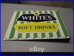 Vintage Rare R White's Soft Drinks Porcelain Enamel Flange Soda Sign Advertising