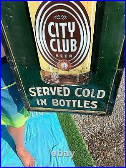 Vintage Rare Schmidt City Club Mellow Dry Beer Brewery Vertical Metal Sign 55x19