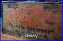 Vintage Rare Souix City IA Brewing Western Brew Beer Wood Crate Case Box Sign