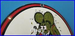 Vintage Rat Fink Porcelain Ed Roth Auto Hot Rod Drag Race Service Station Sign