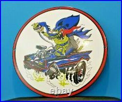 Vintage Rat Fink Porcelain Ed Roth Hot Rod Batman Robin Comic Book Service Sign