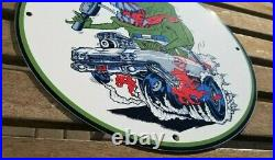 Vintage Rat Fink Porcelain Ed Roth Slimer Service Auto Mopar Ghostbusters Sign