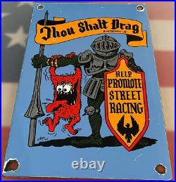 Vintage Rat Fink Thou Shalt Drag Porcelain Sign Ed Big Daddy Roth Gas Oil