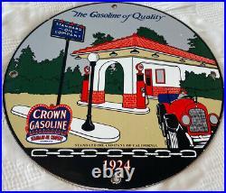 Vintage Red Crown Gasoline Porcelain Sign Gas Station Standard Oil Pump Plate