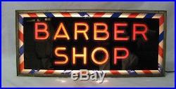 Vintage Reverse Glass Painted Lighted Barber Sign