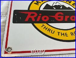Vintage Rio Grande Mainline Porcelain Sign Railway Gas Station Oil Pump Plate
