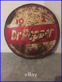 Vintage Round 1950's Dr. Pepper 10-2-4 Porcelain Advertising Sign Rusty Bubble