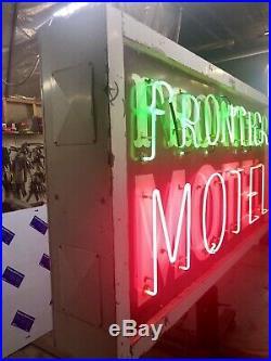 Vintage Route 66 Porcelain Frontier Motel Neon Sign