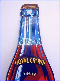 Vintage Royal Crown Cola Nehi Metal Embossed Die Cut Soda Advertising Sign 58