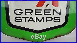 Vintage S&H Green Stamps Super Market Grocery Store Metal Shield Sign 23x19