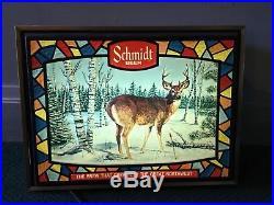 Vintage Schmidt Beer Buck Deer Light Up Sign Hunt Hunting Wildlife Works