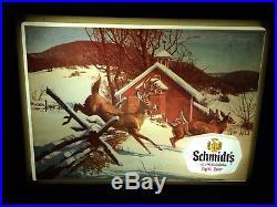 Vintage Schmidts Light Beer Lighted Sign Deer Farm Hunting Advertising Bar Pub