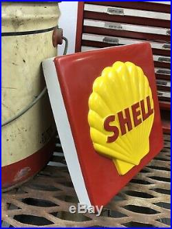 Vintage Shell Gas And Oil Advertising Sign Pump Plate 11X11