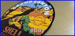 Vintage Shell Gasoline Porcelain Grand Canyon Service Station Pump Plate Sign