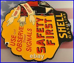 Vintage Shell Oil Porcelain Safety Sign Gasoline Station Pump Plate Motor Oil