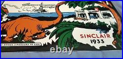 Vintage Sinclair Gasoline Porcelain Hc Pump Service Station Ww2 Dinosaur Sign