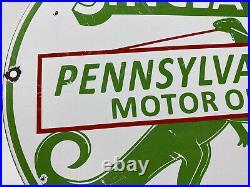 Vintage Sinclair Gasoline Porcelain Sign Gas Station Motor Oil Dino Pump Plate